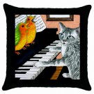 Throw Pillow Case from art painting Cat 457 Birds Piano
