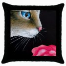 Throw Pillow Case from art painting Cat 465 Flower