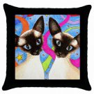 Throw Pillow Case from art painting Cat 480 Siamese