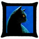 Throw Pillow Case from art painting Black Cat 494