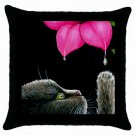 Throw Pillow Case from art painting Cat 513 Flower