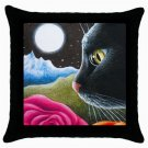 Throw Pillow Case from art painting Cat 530 Flower