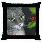 Throw Pillow Case from art painting Cat 543 Ladybug