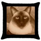 Throw Pillow Case from art painting Cat 547 Siamese Sepia