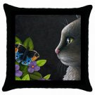 Throw Pillow Case from art painting Black Cat 556 Butterfly