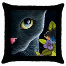 Throw Pillow Case from art painting Black Cat 557 Butterfly