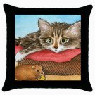 Throw Pillow Case from art painting Cat 558 Mouse
