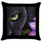Throw Pillow Case from art painting Black Cat 561 Flower