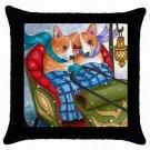 Throw Pillow Case from art painting Dog 49 Corgi Winter