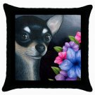 Throw Pillow Case from art painting Dog 80 Chihuahua Flower