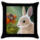 Throw Pillow Case from art painting Hare 55 Rabbit Butterfly