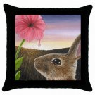 Throw Pillow Case from art painting Hare 58 Rabbit Flower