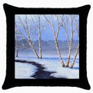 Throw Pillow Case from art painting Landscape 328 River Winter