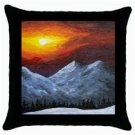 Throw Pillow Case from art painting Landscape 421 Sunset Winter