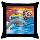 Throw Pillow Case from art painting Mermaid 5 Dolphin