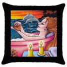 Throw Pillow Case from art painting Mermaid 48 Dolphin Bath