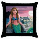 Throw Pillow Case from art painting Mermaid 54 Dolphin