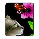 Mousepad Mat pad from art painting Cat 410 Flower Butterfly