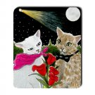 Mousepad Mat pad from art painting Cat 485 Romantic Flowers