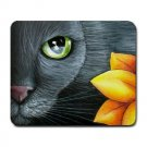 Mousepad Mat pad from art painting Cat 507 Black Cat Flower