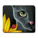 Mousepad Mat pad from art painting Cat 510 Black Cat Flower Ladybug
