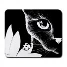 Mousepad Mat pad from art painting Cat 510 Black Cat Flower Ladybug Black and White