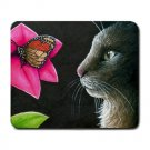 Mousepad Mat pad from art painting Cat 518 Cat Flower Butterfly