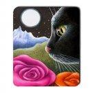 Mousepad Mat pad from art painting Cat 530 Black Cat Flower