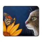 Mousepad Mat pad from art painting Cat 541 Flower Butterfly