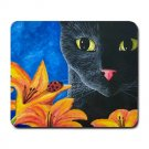 Mousepad Mat pad from art painting Cat 551 Black Cat Flower Ladybug