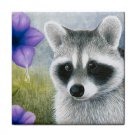 Ceramic Tile Coaster from art painting Raccoon 20