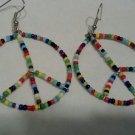 Seed Bead Peace Earrings