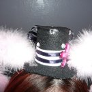 Mini Lolita hat with Ears, Sailor (Pink Feathers)