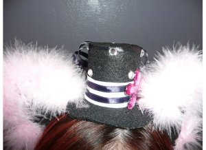 Mini Lolita Hat with Ears - Sailor (Green feathers)