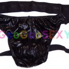 K683 K3019 Hot Men Sexy Jock Strap Pleather Wetlook Black