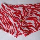 K76 HOT MEN BOXER BRIEF MESH ZEBRA STRIPED Red