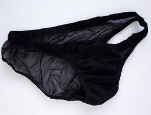 K317 HOT SEXY MEN SWIMWEAR THONG SWIM POUCH MESH BACK Black