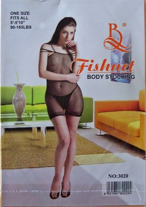 W3020 SEXY WOMEN FISHNET BODY TOP Black