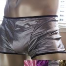 K122 HOT MEN SEXY BOXER BRIEF METALLIC Contoured Pouch Silver