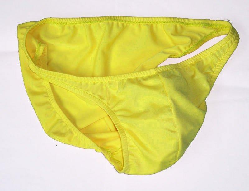K318 HOT MEN SEXY SWIMWEAR FABRIC BIKINI SHINY Yellow