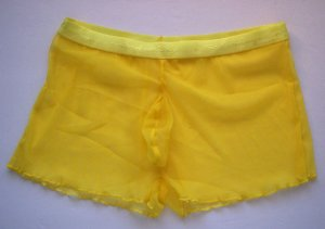 K339 Tulle Net Boxer Brief w/ Contoured Shape Pouch Yellow Size: L