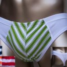 N23 Hot Men Thong Cotton Spandex Stripes Print Pouch Low Rise Green L XL