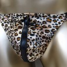 R384 Hot Mens Leopard printed String Thong Velour Zipper Pouch Brown A