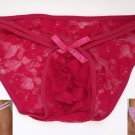 RG679 Hot Mens Stretchy Floral Lace Pouch String Bikini rose