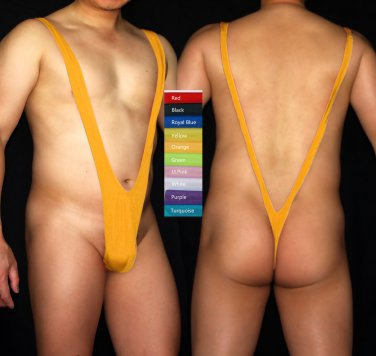 K3026A STRETCH SUSPENDER SWIMWEAR Mankini Costume Orange