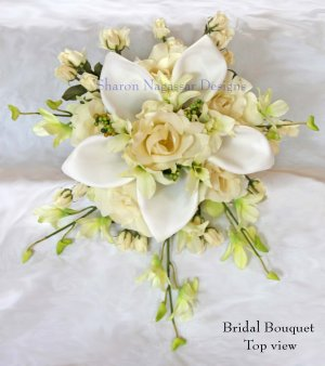 16 PC Bridal Package - Calla Lilies & Roses - Off White & Ivory