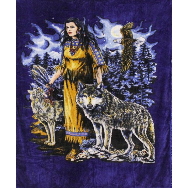 Indian Maiden Wolf Animal Queen Blue Background Mink Style Blanket