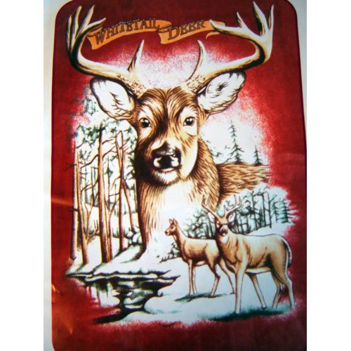 Large Buck Head Deer Nature Forest Queen Mink Style Blanket