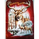 Large Buck Head Deer Nature Forest Queen Mink Style Blanket