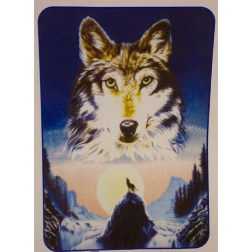 Large Wolf Head Indian Back Colorful Mountain Trees Moon Queen Mink Style Blanket